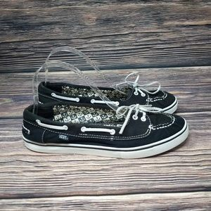 Vans Mary Jane Black White Nautical Boat Shoes 8.5